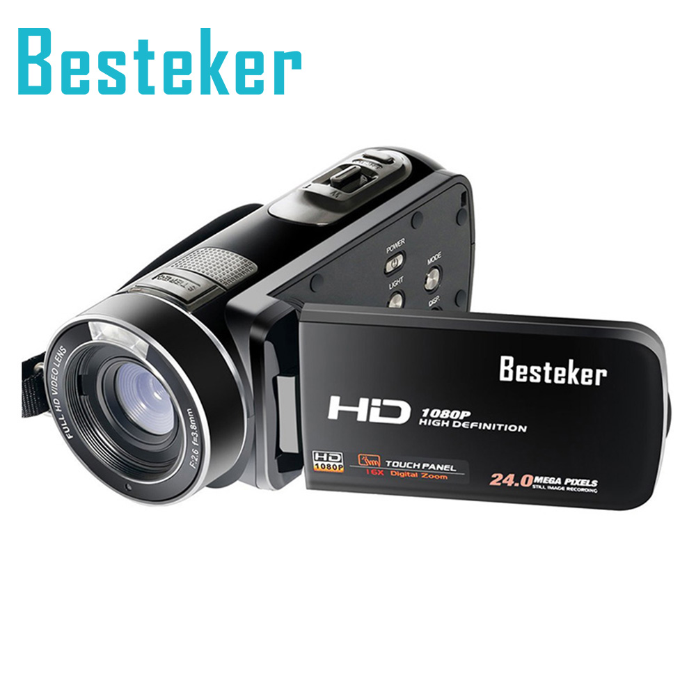 Besteker Full HD 1080P 24MP 16X Digital Zoom Camera Support 64G SD Card Remote HDV Camcorder