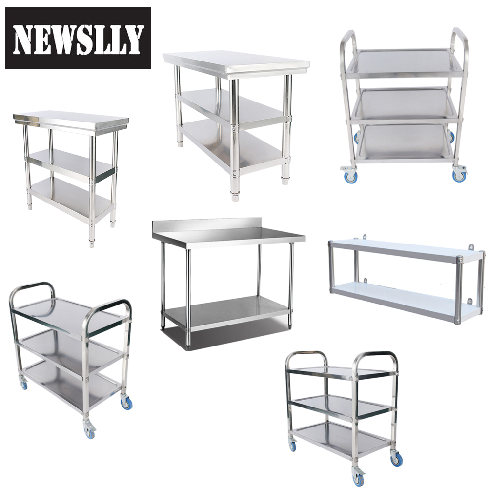 Food preparation Microwave Rack Kitchen Catering storage shelf Stainless Steel floding stand Work Table