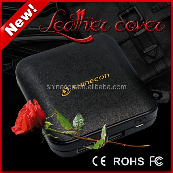 2015 OEM hot selling 10400mah leather cover power bank with double USB output