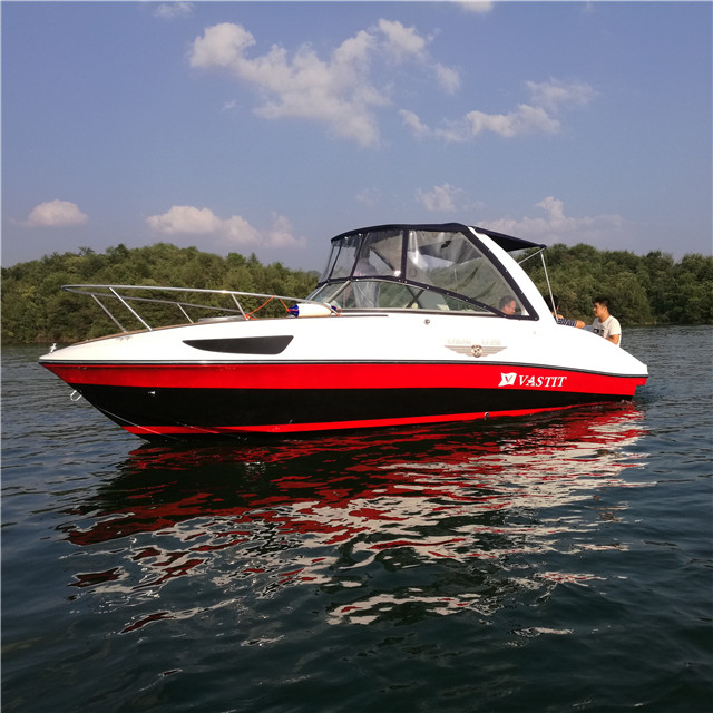 24ft FRP speed boat outboard engine cabin boat
