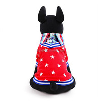 Star Printed Plaided Collar Fleece Dog Costume Warm Winter Clothes Coat Jumpsuit Four Leg Clothing for Pet