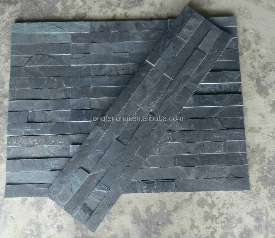 018 black stone natural slate stacked stone panels waterfalls stone