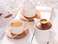 Ceramic Porcelain Espresso Coffee Cup & Wood Saucer Sets