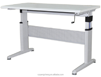 HPL Wood Top &Adjustable Height Cranking Office Table in Light Grey/PCZ-515-C