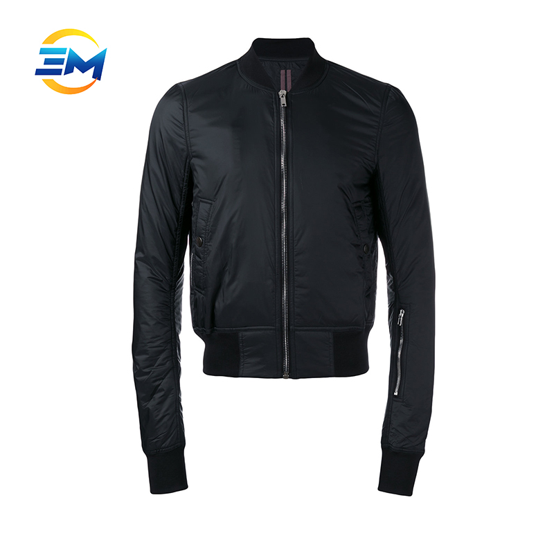 High quality customized black nylon crop bomber jacket for men