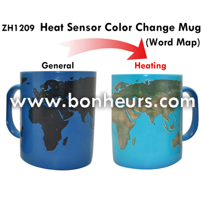 New Novelty Toy Heat Sensor Cup World Map Color Change Mugs