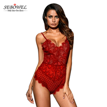 Red Lined Women Lace Bodysuit