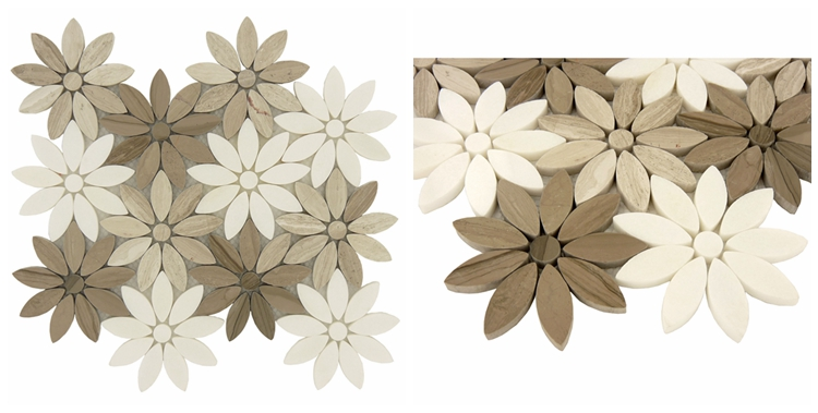 Decorstone24 Natural Stone Black White Gray Marble Flower Mosaic Tiles For Wall Floor