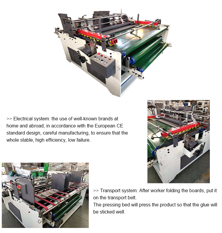 Semi-auto Automatic Carton Box Folder Gluer Machine/Corrugated Cardboard Carton Box