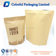 Wholesale dry aluminum foil coffee tea food packing kraft bag stand up kraft paper bag with window