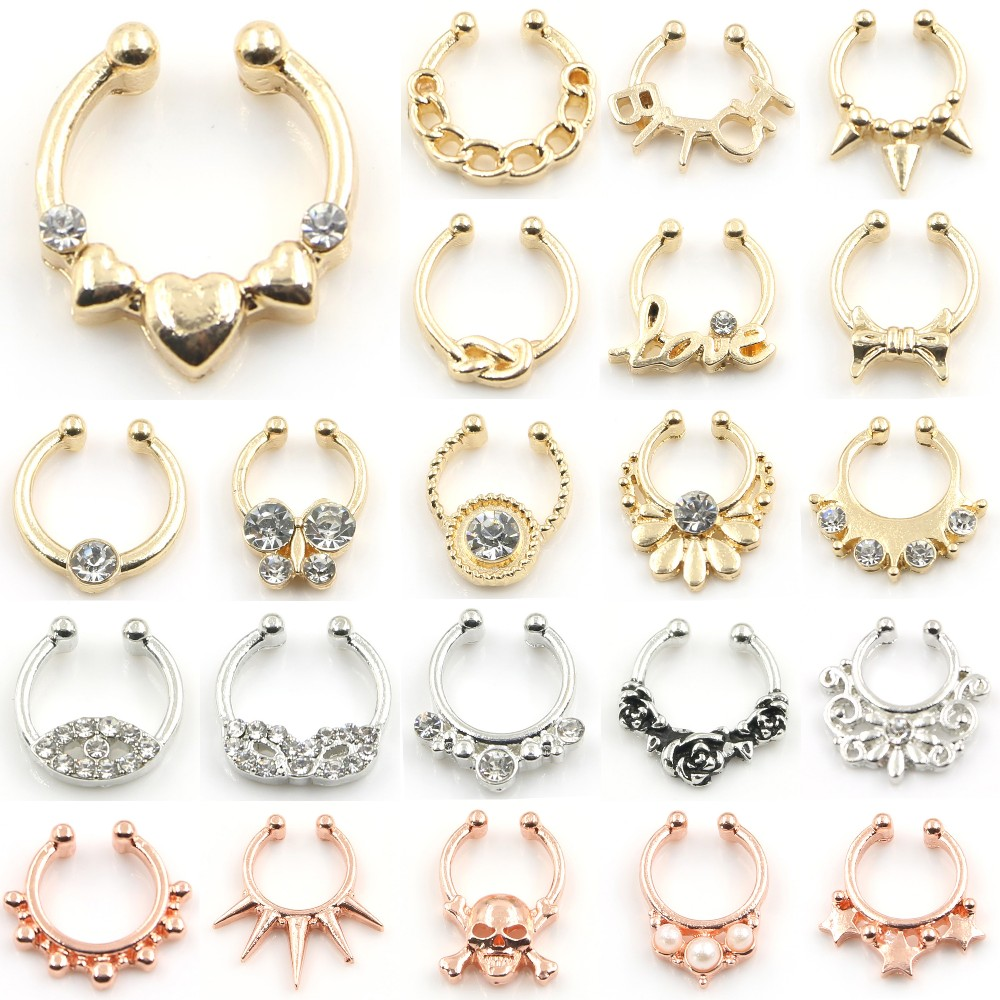 Wholesale fashion non piercing fake septum ring body for Types of body jewelry rings