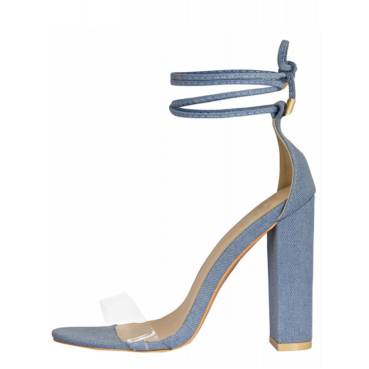 New Design Denim and PU Sandal Ankle Strap Block High Heel Ladies Sandals