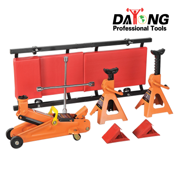 COMBINATION KIT Hydraulc Trolley Jack and jack stands and wheel chock and chrome cross wrench