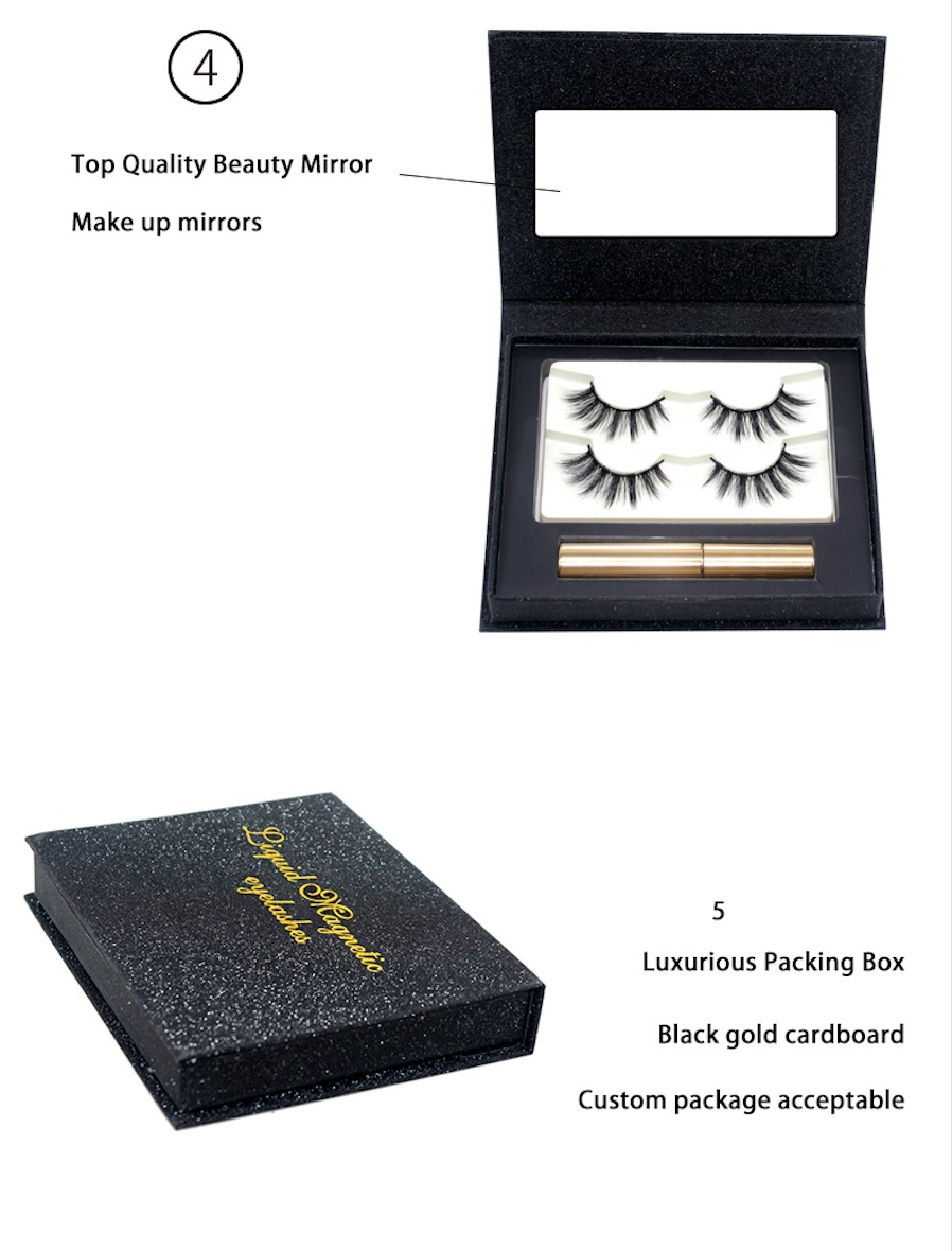 Eyes Makeup Set 5 In 1 Magnetic False Eyelash Oil Free Liquid Eyeliner Eyelash Tweezer With Private Label Custom Packaging Box
