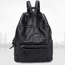 Daily casual washed pu backpack guangzhou wash travel bag young ladies backpack
