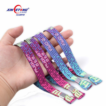 Promotional Fabric Festival bracelet MF Ultralight EV1 woven Wristband with disposable locker