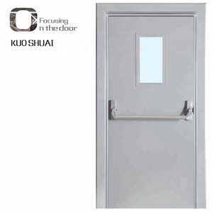 China Emergency Exit Steel Metal Door With Panic Push Bar