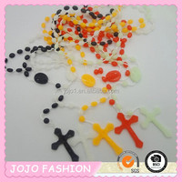 cheap rosary cross plastic bead necklace
