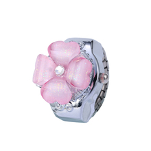 Wholesale Newest Design Ladies Fancy Watch With Flower Fashion Finger Ring Watch For Girls B330