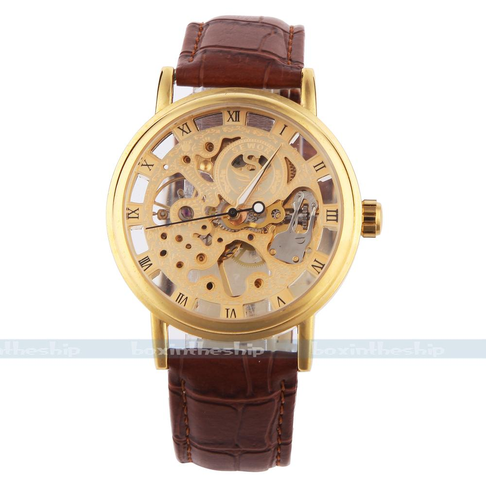 branded watches for men SEWOR hand wind mechanical FASHION watches for men Skeleton leather strap clock men