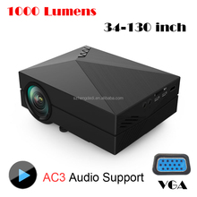 2015 Original GM60 Cheap Projector 1000 Lumens 1920 x 1080 Video USB VGA SD Home Video GM 60 HDMI Projector Beamer White Gold