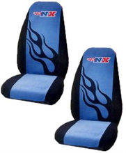 Blue NX Flames Car Truck SUV Bucket Seat Cover - Pair