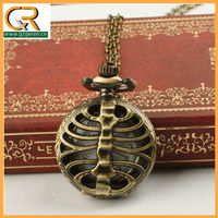 2.5cm Skeleton Skull Carved Pendant Steampunk Pocket Watches MA101