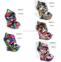 2012 women shoes multi color increasing wedge colorful shoes