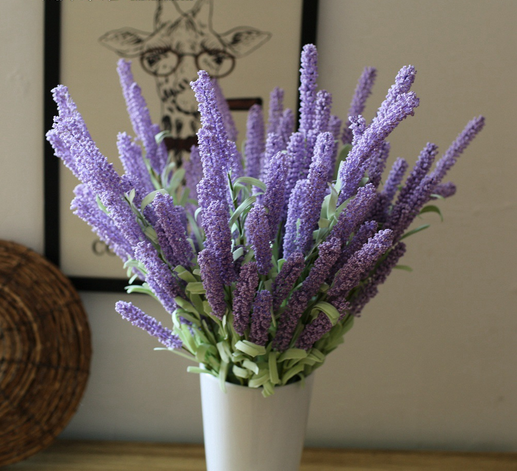 12 flower heads artificial lavender plants with long stem plastic lavender flowers artificial for decoration