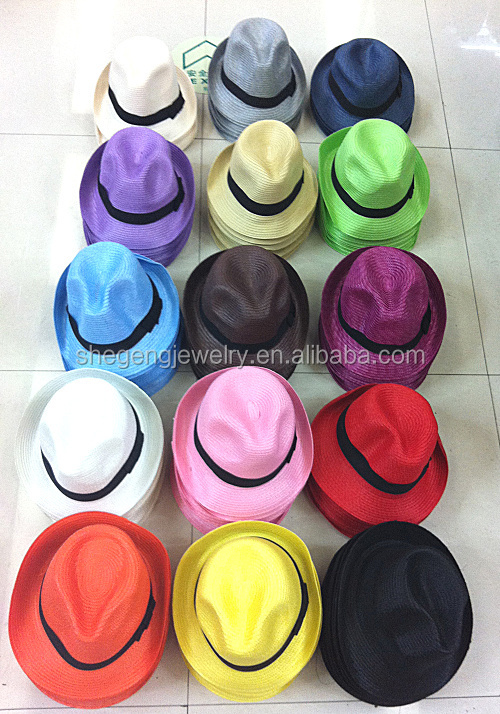 NEW Unisex Vintage Beach Summer Trilby Packable Crushable Straw Sun Hat