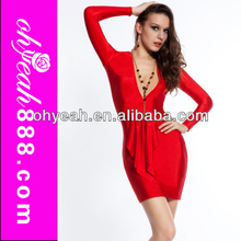 2014 Newest Arrival High Quality Sexy Women Deep V Neck Red Long Seeve Bodycon Dress Knee Length