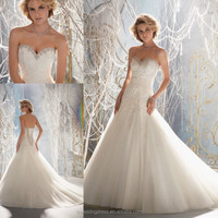 WD3101 Beautiful white beaded crystals sweetheart neckline strapless sleeveless A-line corset patters lace overlay wedding dress