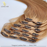 Best Quality Tangle and Shedding Free Full Bottom Factory price clip in colored human hair extensions