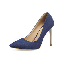 cheelon shoe 2018 latest concise dress pumps spring ladies denim high heel shoes