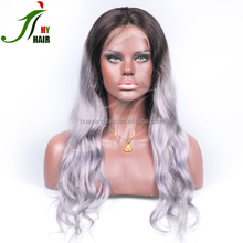 Brazilian Virgin Human Hair Body Wave Glueless Full Lace Ombre Two Tone Dark Roots Silver Grey Lace Front Wig For Fashion Women