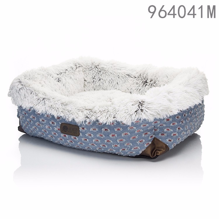 china latest designs pet products dog kennel luxury jeans long plush rectangle pet dog beds for kids