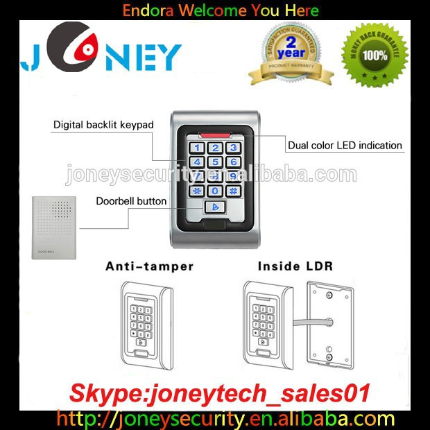 JYA-H100EM-W IP68 Waterproof door access controller system with metal keypad for Gate Entrance