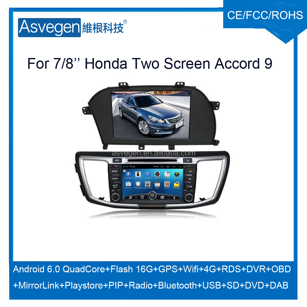 Wholesale android car dvd player for 7/8'' honda accord 9 generation two screen navigation car dvd gps support playstore,4G,wifi