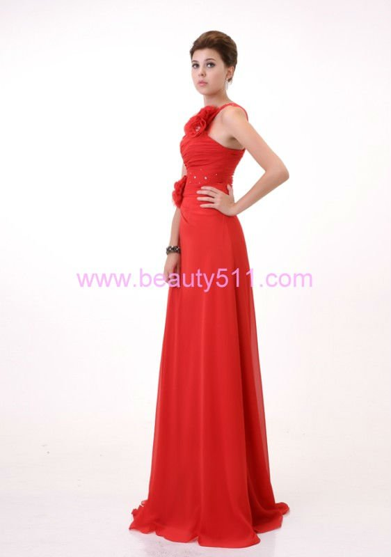 Sheath One Shoulder Floor Length Prom Formal Evening Dress red one shoulder Chiffon Evening Dress
