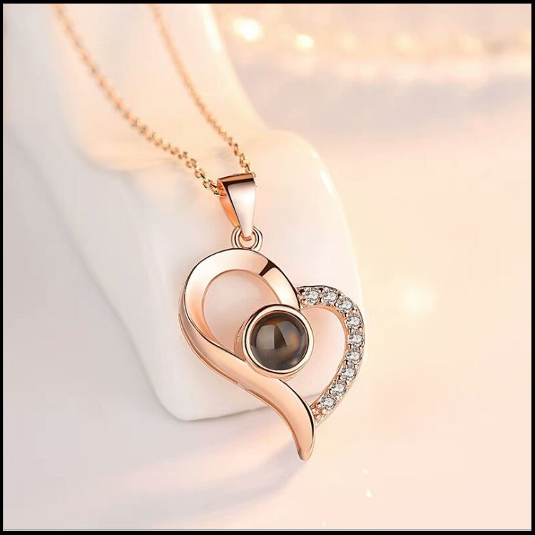 2019 Fashion Jewelry Rose Gold Plated 100 Languages To Say I Love You Heart Projected Pendant Necklace