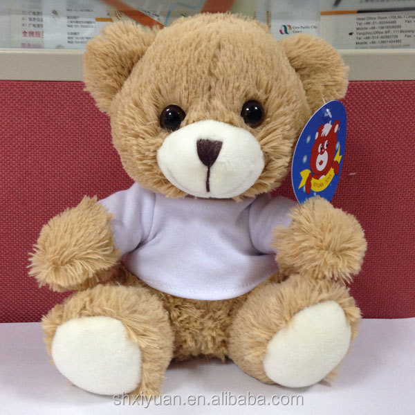 china factory teddy bear wear white t-shirt