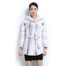 Winter High Quality Women Mink Coat Natural Black and Cross Mink Fur Overcoat with Hood and Belt