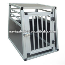 Alu Dog Box with round bars and firm board