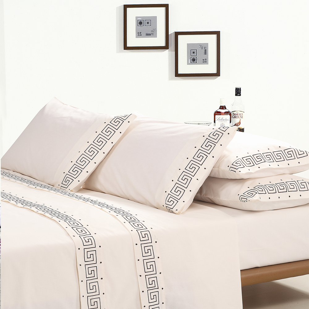 KOSMOS Wholesale Embroidery 4pcs -Flat Sheet,Fitted Sheet,2 Pillowcase new bed sheet design