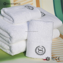 Luxury embroidered 100% cotton dobby white 5 star hotel towel set