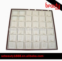 36 slots cream red lacquer wood white leather ring jewelry trays