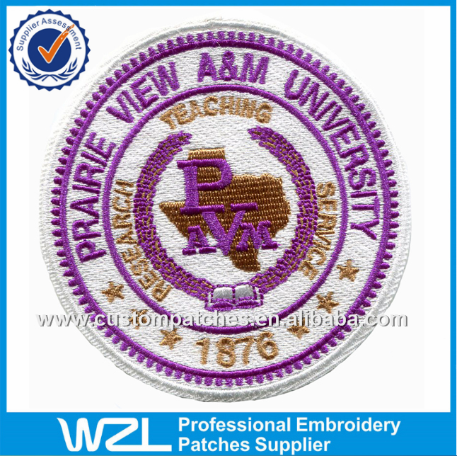 University embroidery logo patches, School uniform patches embroidered to custom