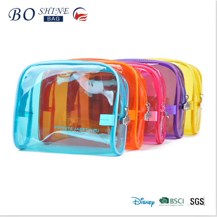 latest Fashion Beautiful Transparent Clear PVC Cosmetic Bag With Zipper Closure