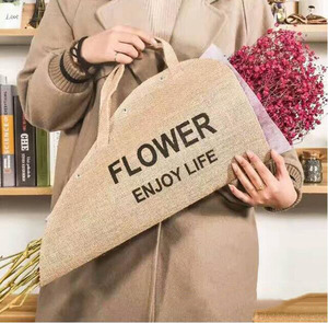Flowers Bag Waterproof Linen Fabric Jute Hand Flowers Wrapping Gift Bag Flowers Packaging Materials Natural Burlap Bags
