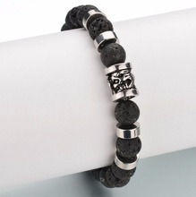 Fashion Jewelry Lava Beads Nautical Stainless Steel Bracelet For Men ZCS086